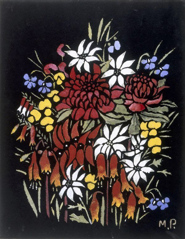 An image of Waratahs etc by Margaret Preston