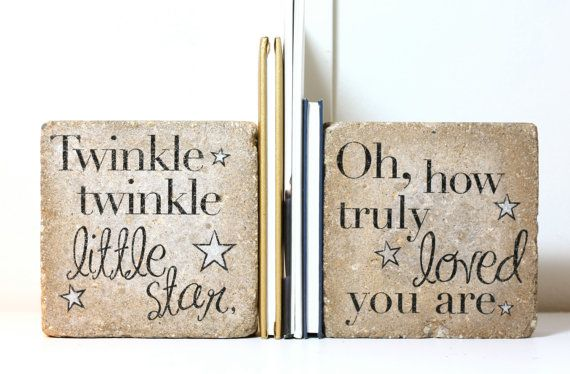 Bookends/ Twinkle twinkle little star/ Nursery Decor/ Kid Room Decor/ Rustic Bookends/ 6x9 concrete paver bookends/ Heavy Bookends/ Bookend