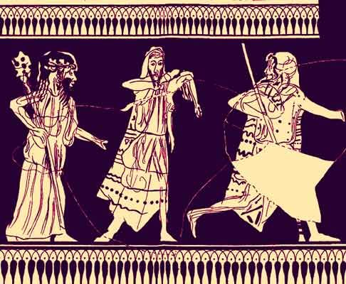 Zagreus cut into pieces by the Titans, Hydria from Kameiros. He was identified with the god Dionysus and worshipped by followers of Orphism. Zeus had lain with either Demeter or Persephone in the form of a snake and thus Zagreus was ceated. Zeus intended Zagreus to be his heir, but a jealous Hera persuaded the Titans to kill the child. The Titans distracted Zagreus with toys, then carried him away and tore Zagreus to pieces.
