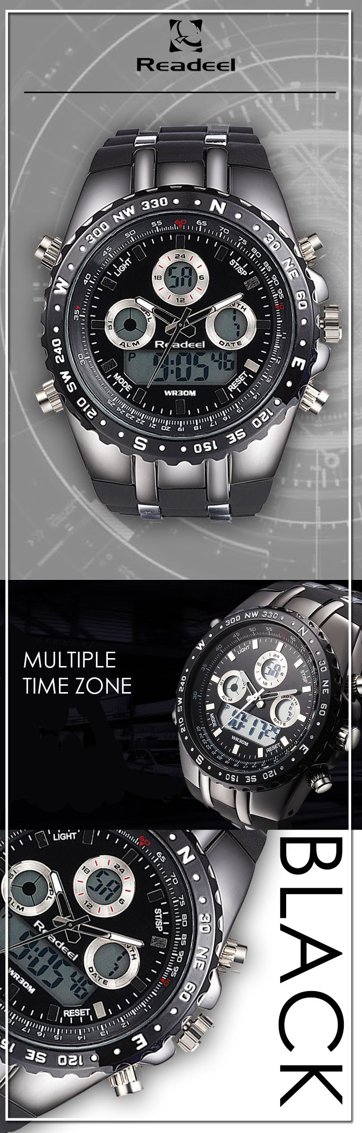 Men's Black Military LED quartz watches - Readeel luxury sport timepiece watch - Men's wear brand style fashion affordable accessories #menswatches #watches #mensstyle #mensaccessories #menstyle