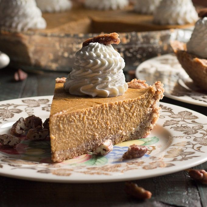 An easy no bake low carb pumpkin pie that's cooked on the stove and sets in the refrigerator.  (Will make the custard only and pour into ramekins)