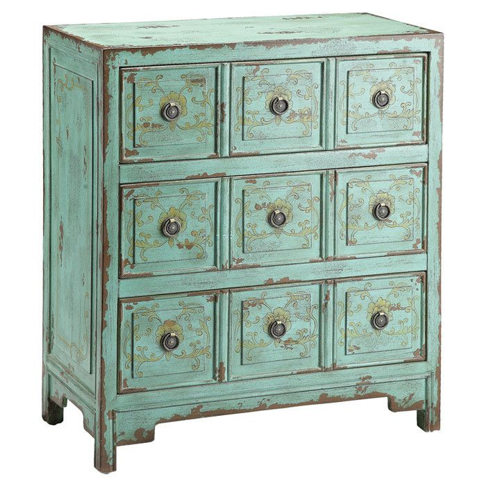 Anna Chest made in China, sold by Stein World.  $212 Lovely hand-painted vintage green apothecary style chest features a faded goldenrod floral motif and three drawers.