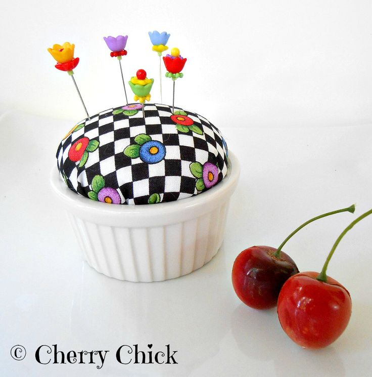 Pincushion - Mary Engelbreit Fabric Pincushion - Gift for Quilters - Decorative Pins - PinKeep - Quilting - Sewing Pins - Cherry Chick by DecorativeSewingPins on Etsy https://www.etsy.com/listing/292926497/pincushion-mary-engelbreit-fabric