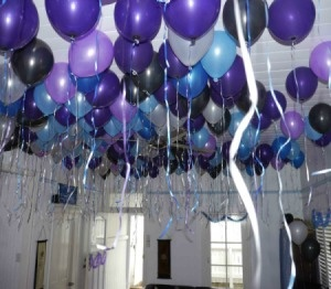 Purple and Blue balloons, I think it would look better if it was bright colours