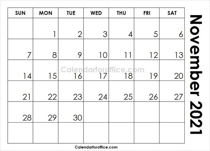 Edit November 2021 Calendar Template For Office Use Blank Printable Images 2021 Calendar For Office Calendar Template Printable Calendar Design Monthly Planner Template