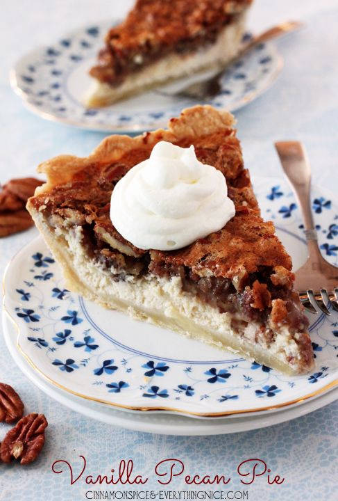 Vanilla Pecan Pie Recipe ~ It's the perfect holiday pie with vanilla infusing both layers and that nutty, crunchy topping balanced by the rich creaminess of the cheesecake
