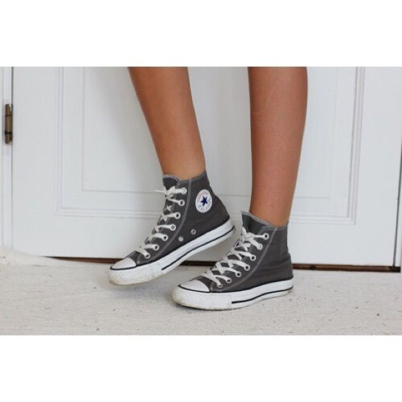 Grey Converse All Stars Hightops Grey converse all stars high tops. Some wear to them, but in overall good condition. Converse Shoes Sneakers