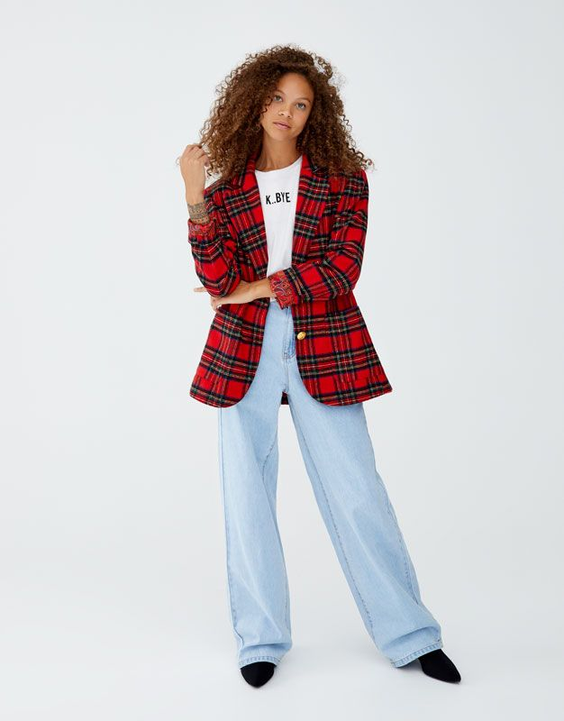 Rojo Rojo Pull amp;bear En Blazer Escoceses Cuadro 2019 Cuadros WwfqvnpH7