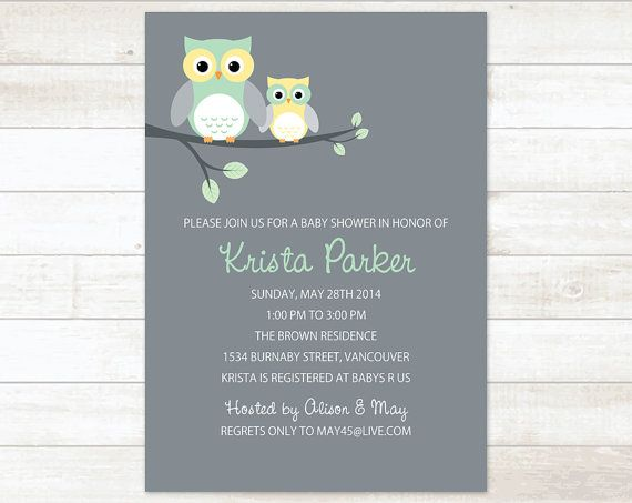 Owl Gender Neutral Shower Invitation By