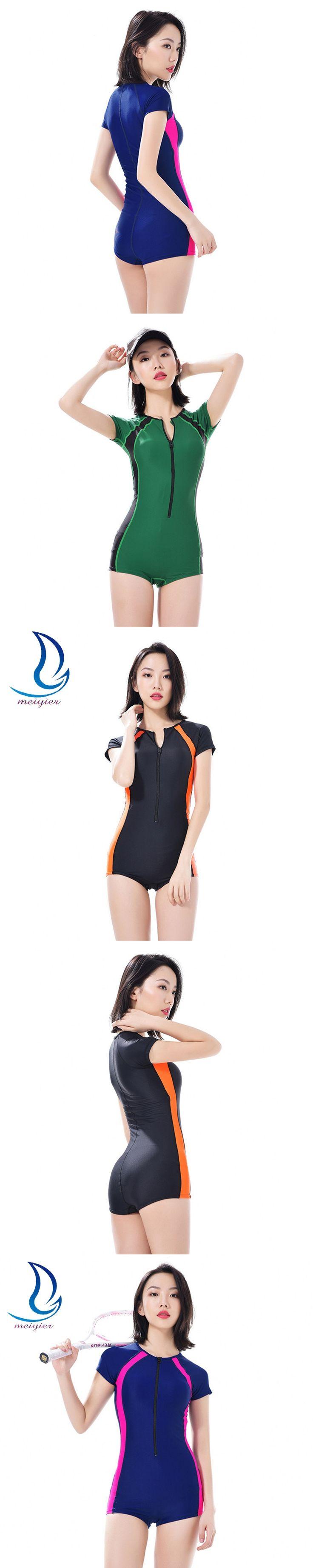 MEIYIER Women Short Sleeve Wetsuits Triathlon Wetsuit One Piece Scuba Diving Suit Jumpsuit Snorkeling Female Swimwear Rash Guard