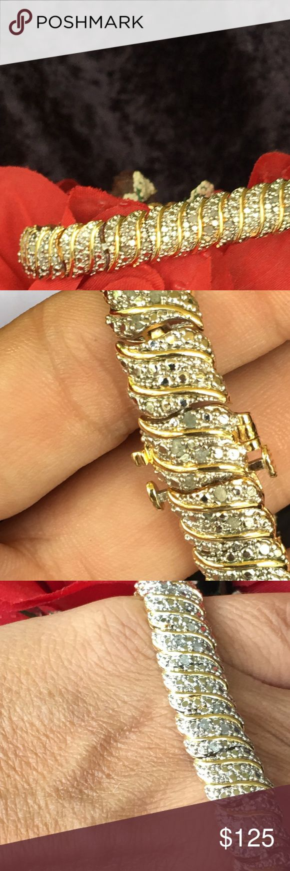 18Kt Gold Over Brass 1 carat Genuine Diamond HIGH QUALITY  18Kt Gold Over fine jewelers brass  1 carat  Genuine Diamond Bracelet with double invisible safety latch to look like non ending diamonds Jewelry Bracelets