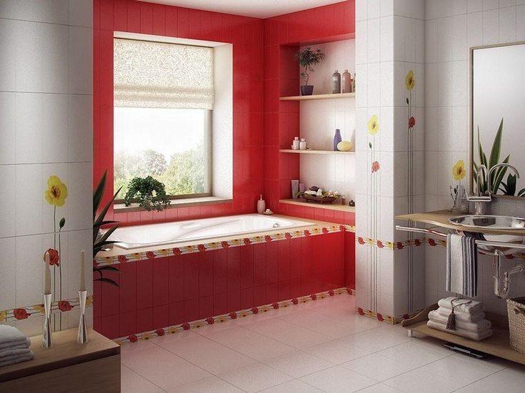déco salle de bain carrelage rouge