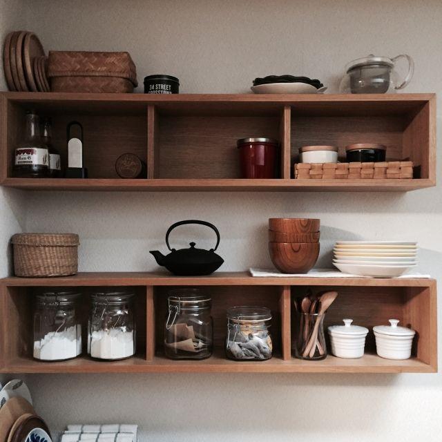 keeecoさんの、壁に付けられる家具,無印良品,100均,築25年,シンプルに暮らしたい,シンプル,マンション,キッチン,棚,のお部屋写真