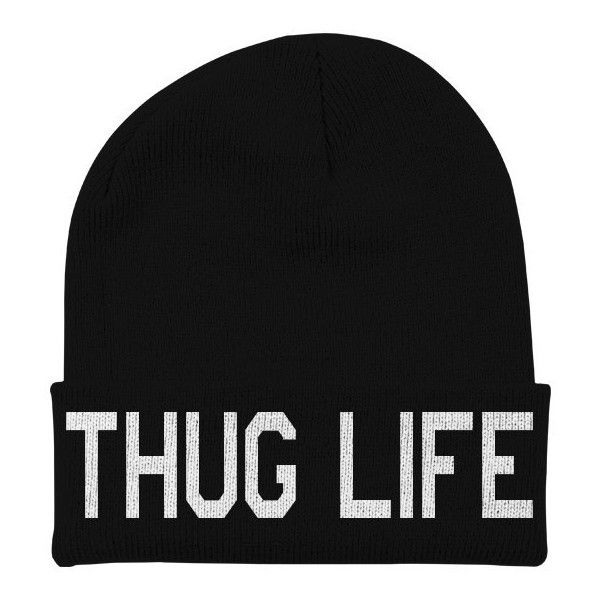 Thug Life Beanie - Hipster Slouchy Beanie - Beanie with Words - Funny... ($15) via Polyvore