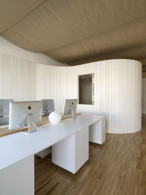 A curving timber-clad wall divides the work space from a multipurpose meeting room at the offices of domohomo architects
