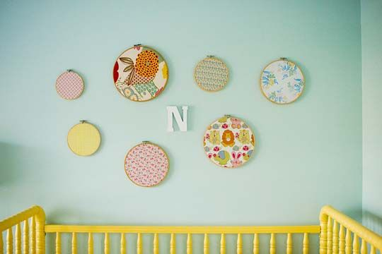 Fabric embroidery hoops and yellow painted crib!: Wall Art, Wall Decor, Nurseries, Baby Girl, Nursery Ideas, Baby Room, Embroidery Hoops, Fabric, Kid