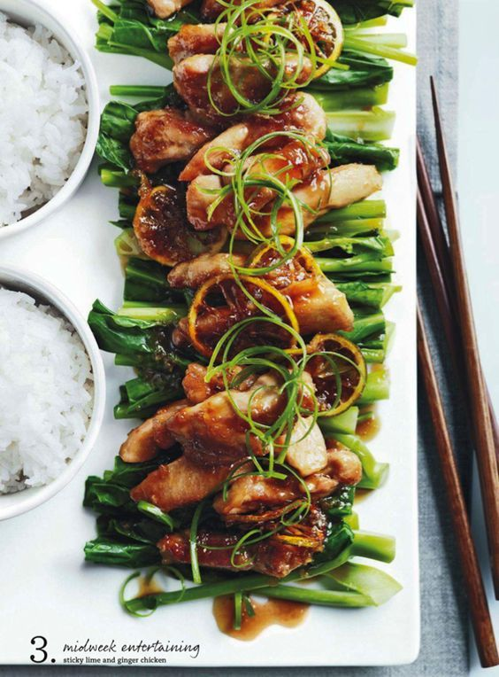 sticky lime and ginger chicken.  donna hay                                                                                                                                                                                 More