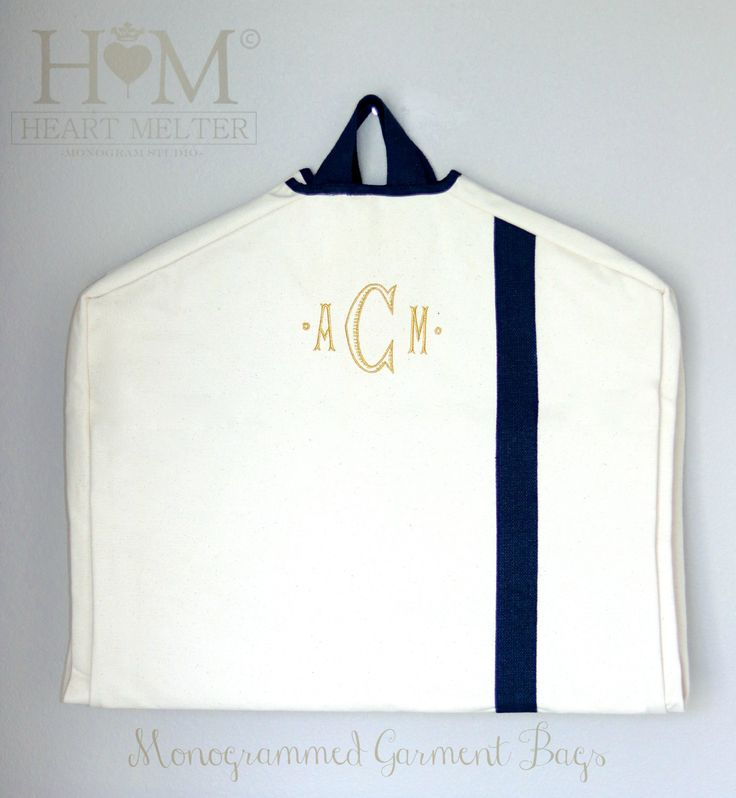 Garment Bags - Monogrammed Garment Bag - Canvas Garment Bag  - Groomsmen Bag - Bridal Gift by heartmelter on Etsy https://www.etsy.com/listing/250959564/garment-bags-monogrammed-garment-bag