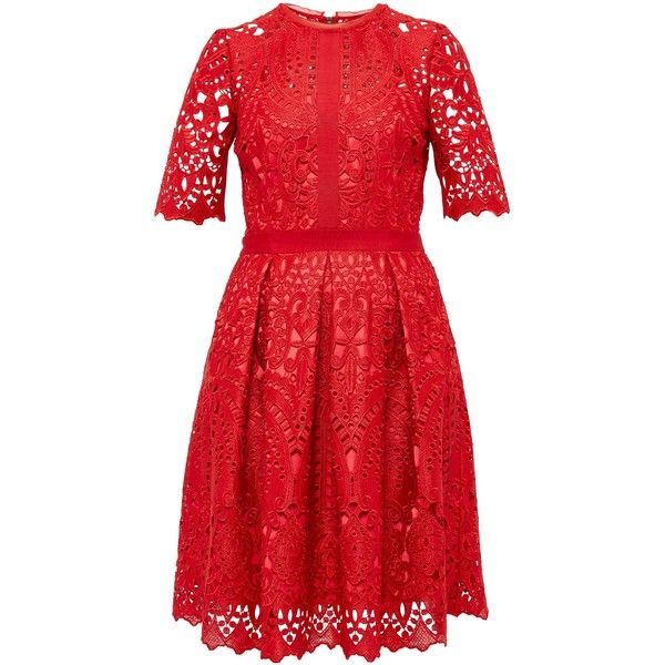 Ted Baker Avas Geo Lace full dress ($370) ❤ liked on Polyvore featuring dresses, red, women, fit flare dress, lacy red dress, lace fit and flare dress, red dress and lace shift dress