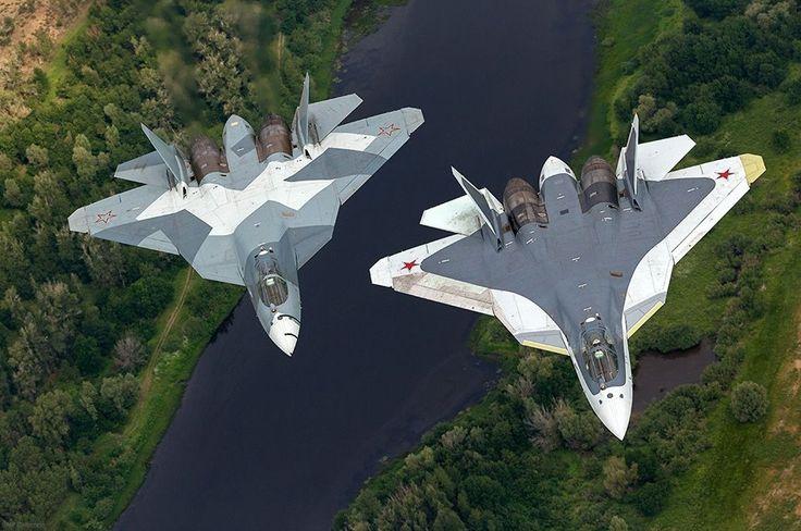 Two Russian Sukhoi T-50 By Vadim Savitsky