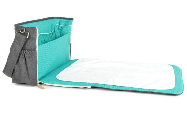 Sac a langer - gris, points, turquoise