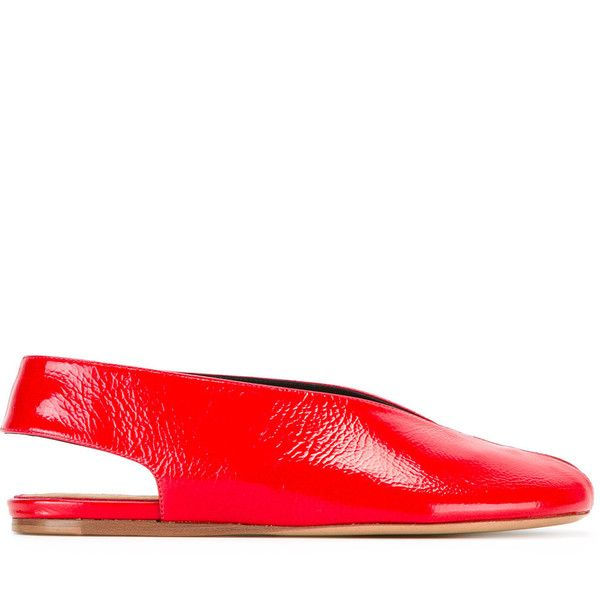 Isabel Marant slingback ballerina shoes ($412) ❤ liked on Polyvore featuring shoes, flats, red, slingback shoes, ballet flats, red ballet shoes, slingback flats and round toe flats