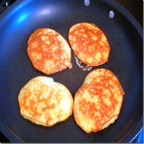 3 -Ingredient Banana Pancakes , Directions: 1. Put everything in your blender and pulse until it makes a batter.  Do not blend.  Spray a large nonstick skillet with nonstick spray and heat over medium heat.  Pour out small, 3 inch pancakes and cook until the tops bubble and they are firm, about 2-3 minutes.  Cook the other side for 2 minutes or until lightly browned.  Dig in!