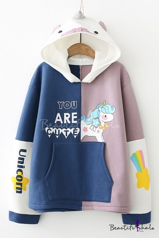 Color Block Cartoon Letter Printed Pullover Hoodie with Unicorn Hood & Pocket - Beautifulhalo.com