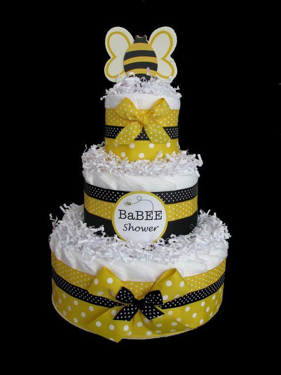 Baby bee diaper cake