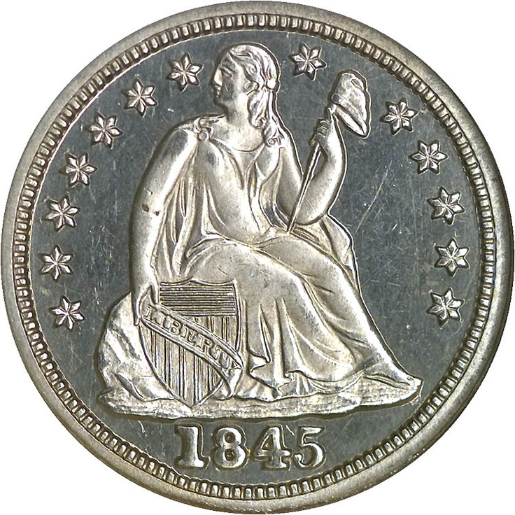 Seated Liberty Dimes 1845 10C PF
