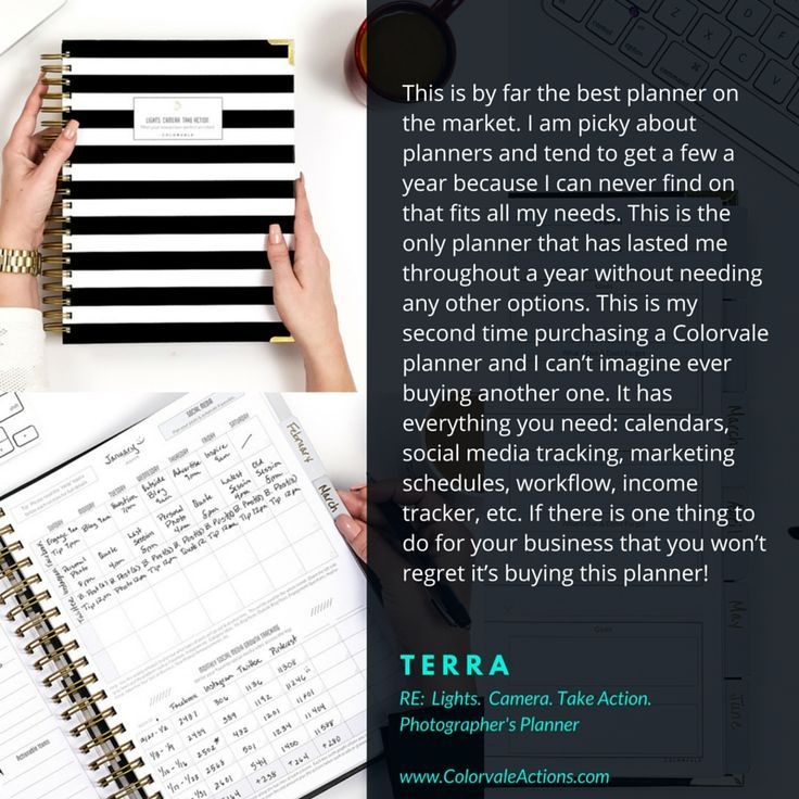 Photographers get your planner here!!  From organizing your phenomenal photo sessions to scheduling time for editing, placing orders, developing unstoppable marketing strategies, seamlessly managing client workflow, and surpassing revenue goals, weve got