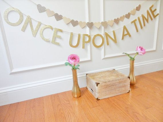 This ONCE UPON A TIME glitter banner is the perfect way to add some sparkle to your bridal shower, wedding or special celebration! This banner