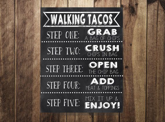 Taco Bar Sign, Walking Tacos Sign, Make Your Own Tacos Printable, Fiesta, Wedding Reception, Sweet Sixteen, Birthday Party,Cinco De Mayo DIY
