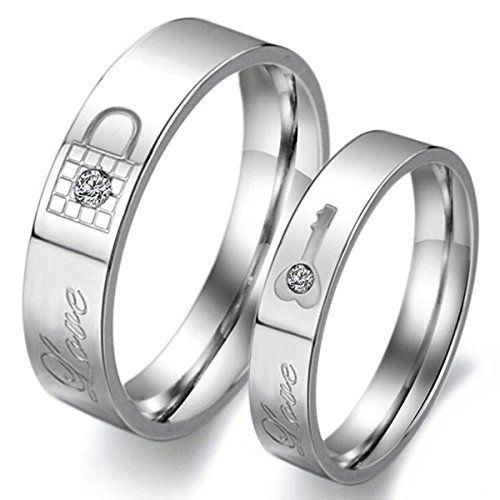 MunkiMix Lieben Edelstahl Bands Ring Zirkonia Silber Sperren Schlüssel Valentine Lieben Partner Versprechen Engagement Hochzeit Herren,Damen