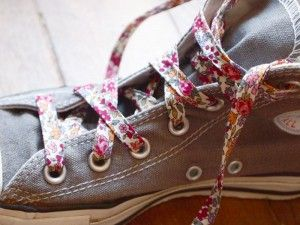 fabric shoelaces.  Wow, this is great!  I never thought of it.  You would never have to buy shoelaces again, just make your own out of whatever fabric you have on hand.  This is awesome.