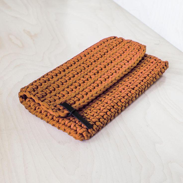 Orange Recycled Chunky Yarn Clutch Purse/ Clutch bag/ Everyday Clutch/ Woman's Handbag/ Envelope Clutch/ Casual Clutch/ Evening Clutch by KnitKnotKiev on Etsy