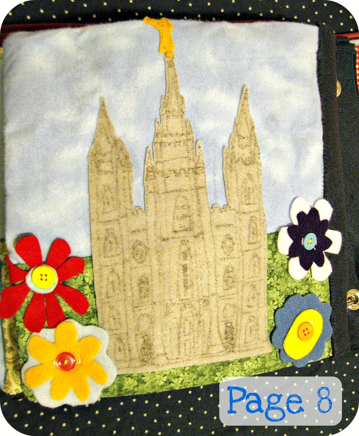 has other cute ideas as well. Salt Lake Temple with flowers quiet book page