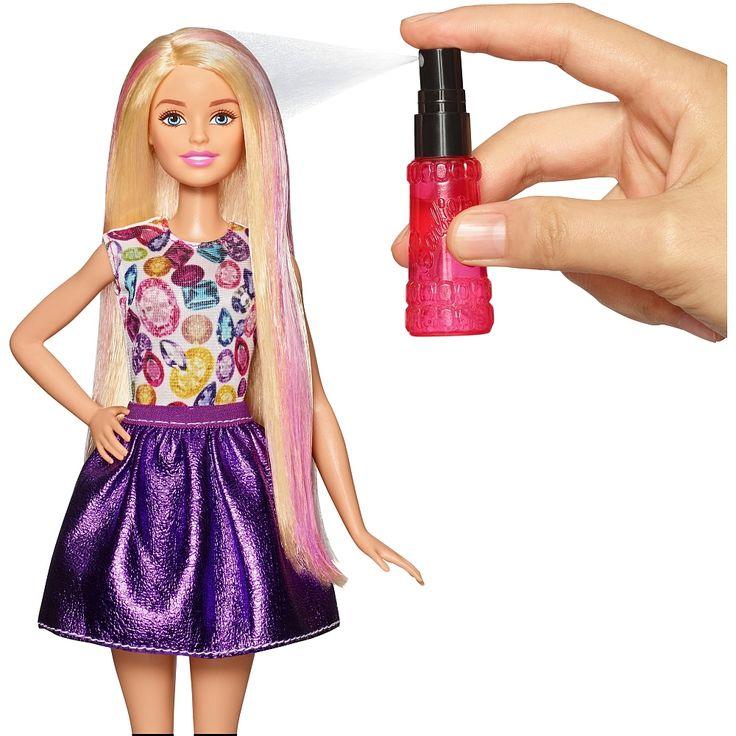 Pour créer des boucles, des ondulations ou des nuances fuchsia ou mauves dans les cheveux de Barbie, les petites filles disposent d'un spray à remplir d'eau chaude, d'un fer à friser pour enrouler les mèches, d'un fer à gaufrer pour onduler la chevelure de Barbie, d'une brosse et de 3 élastiques.