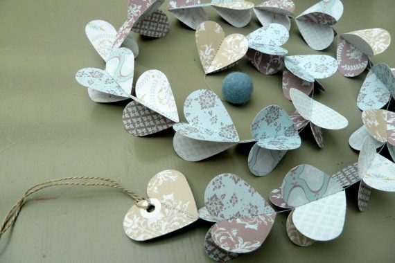 SALE Designer paper garland/mobile Duck Egg Hearts in by LaMiaCasa https://www.etsy.com/listing/91788714/sale-designer-paper-garlandmobile-duck?