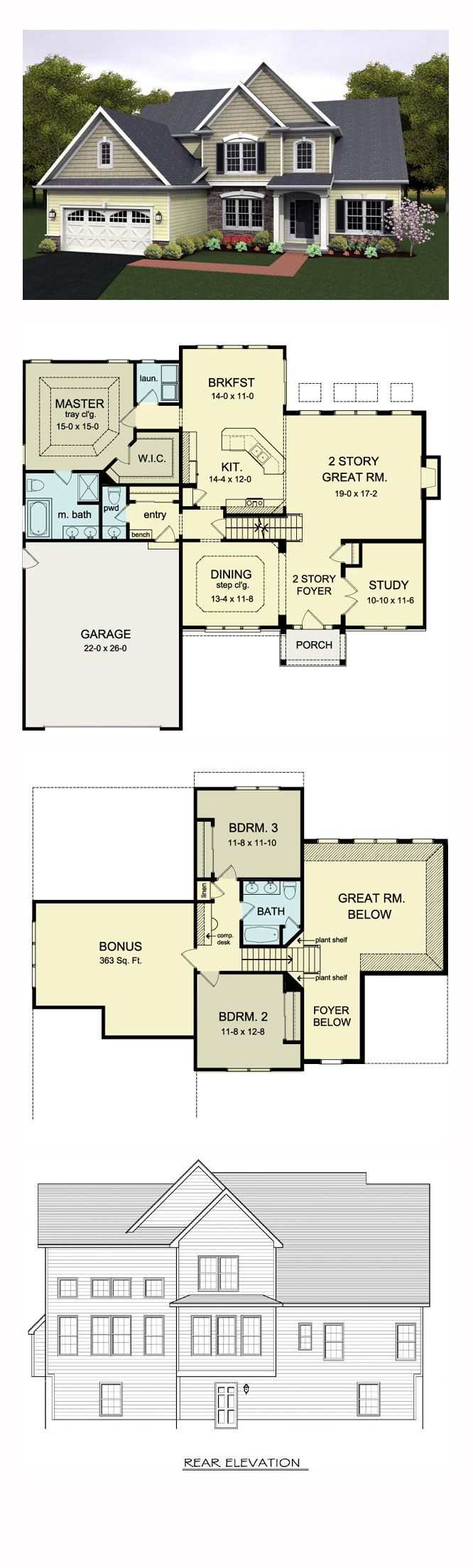 Cape Cod House Plan 54080 | Total Living Area: 2256 sq. ft., 3 bedrooms and 2.5 bathrooms. #capecodhome