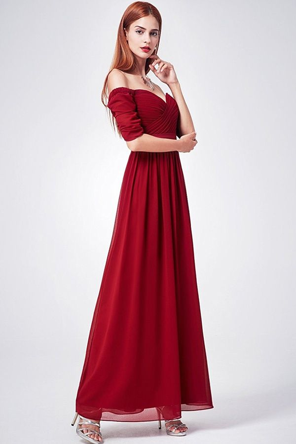 A-line Off-the-Shoulder Short Sleeves Long Bridesmaid Dresses