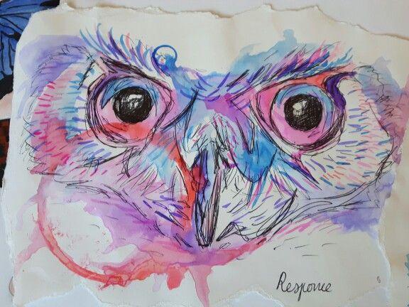 Owl in the style of Abby Diamond #gcse #art #abby #diamond #owl #bird