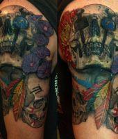czaszka tatuaż na ramieniu 3