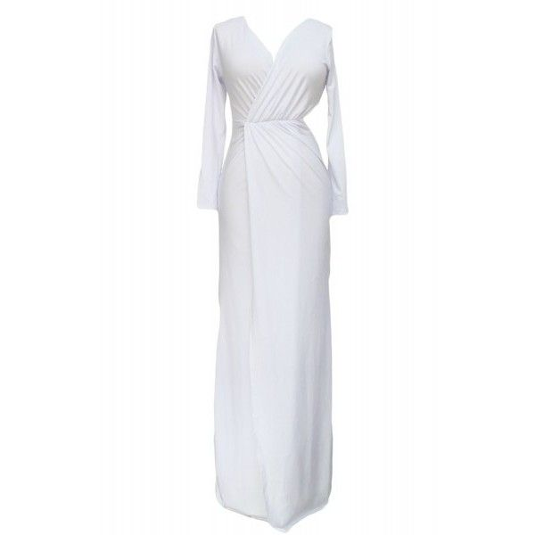 Deep V-neck Split Long Sleeve Maxi Dress (51 CNY) via Polyvore featuring dresses, sexy night out dresses, low v neck dress, long sleeve deep v neck dress, night out dresses and sexy going out dresses