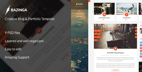Bazinga is a clean and modern responsive theme for all type of blogs.   FULL PREVIEW http://themeforest.net/item/bazinga-blogportfolioprodile-template-psd/7377066