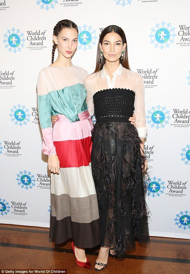 Sister act: Lily Aldridge was supported by sister Ruby and husband Caleb Followill as she was honoured at the World Of Children Awards in New York on Thursday