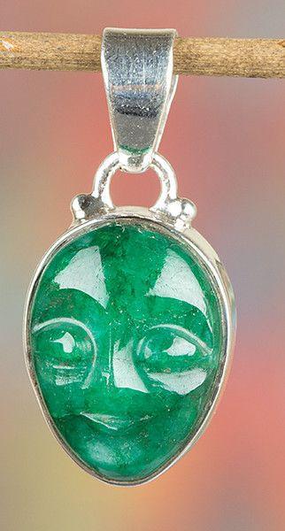 Emerald Jewellery – Stylish Face Silver Emerald Gem Pendant BJP-991-EM – a…