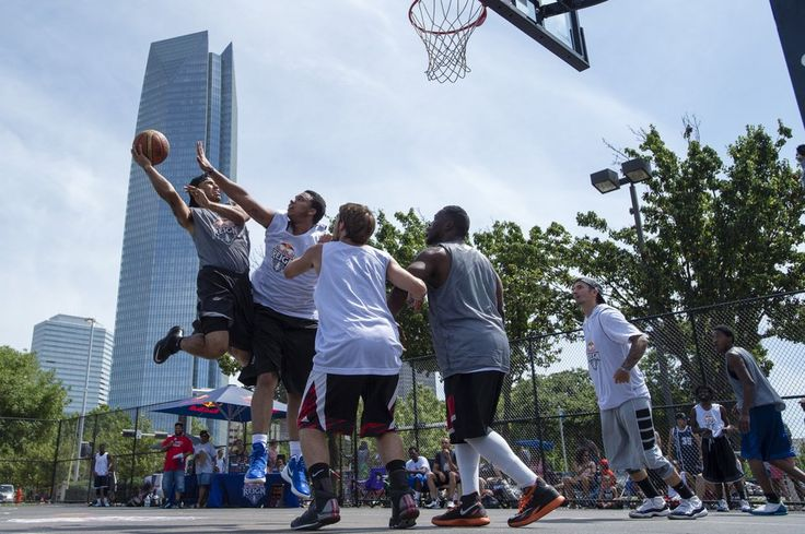 <p>Brandon Jones, Shane Callaghan, Matthew Shipman, Drew Sneed and Terry Hines compete at the Downtown OKC Basketball Courts at Reno and Hudson June 20 in the Red Bull Reign qualifier. [PHOTO PROVIDED BY RED BULL]</p> <p></p>