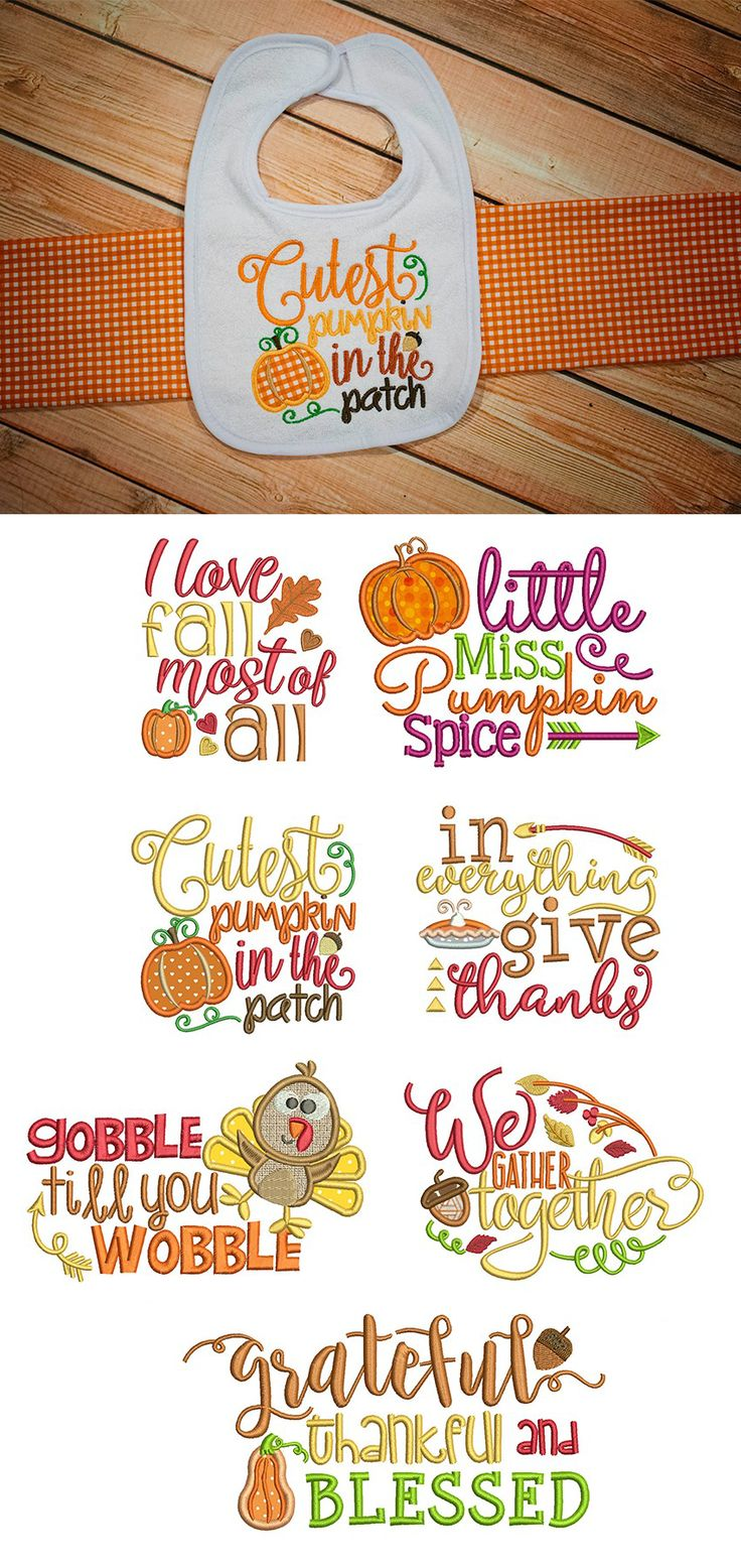 Available in a range of different colour designs instant downloadable - Our Harvest Sayings Set 3 Embroidery Design Set Is Now Available For Instant Download At Designsbyjuju