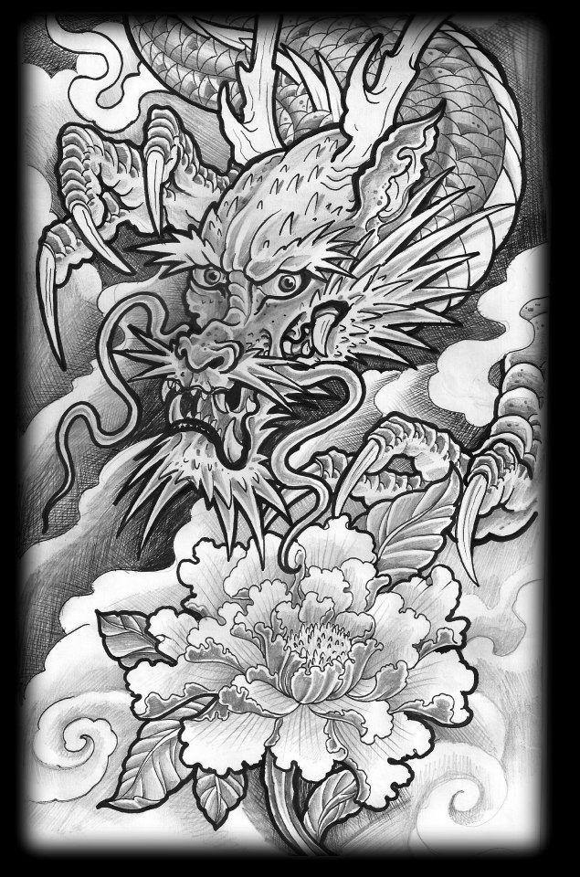 Black/White Oriental Dragon sketch